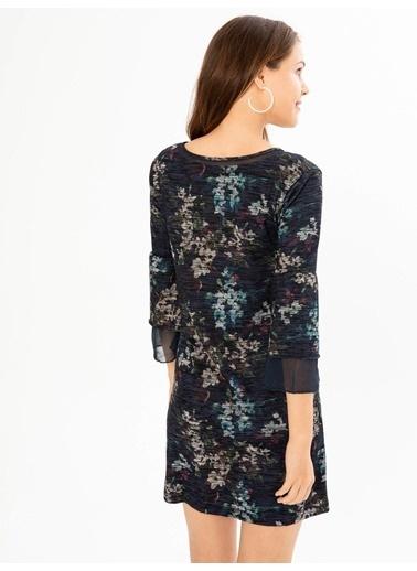 Xint V Yaka Şifon Garnili Elbise Lacivert